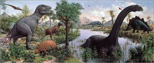 """Rudolph Zallinger's """"The Age of Reptiles"""" in the Great Hall at the Yale Peabody Museum, New Haven, CT."""