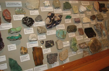 Mineral display. Fryxell Geology Museum, Augustana College, Rock Island, IL.