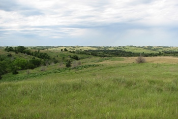 The beautiful Verdigre Creek valley, a great place to hike. Ashfall Fossil Beds State Historical Park, Orchard, NE.