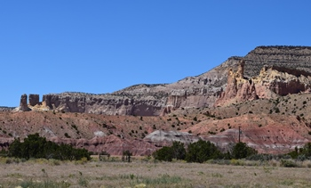 Beautiful cliffs on Ghost Ranch. Ghost Ranch Ruth Hall Museum of Paleontology, Abiquiu, NM.