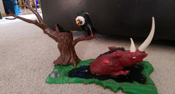 "What is left of my Aurora Prehistoric Scenes ""Tar Pit"" model."