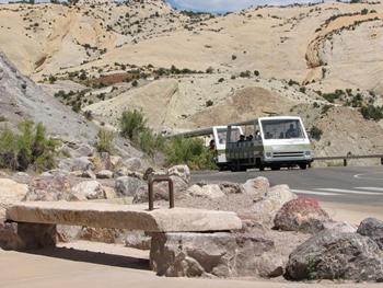 Tram ride up to the Quarry Exhibit Hall, Dinosaur National Monument, Vernal, UT