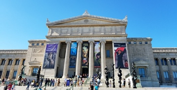 Stately entrance to The Field Museum, Chicago, IL.