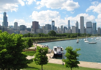 Chicago skyline and Lake Michigan from The Field Museum, Chicago, IL.