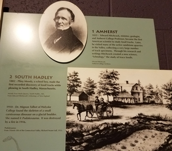 """Informative sign about Edward Hitchcock and the beginning of """"Ichnology."""" Dinosaur State Park, Rocky Hill, CT."""