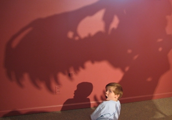A Tyrannosaurus looming over my son at the Morrison Natural History Museum, Morrison, CO.