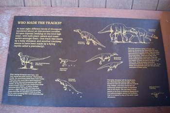 One of the many educational signs at Clayton Lake State Park dinosaur tracksite, Clayton, NM.