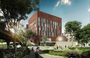 Rendering of the new biological science building at the University of MIchigan, Ann Arbor, MI.