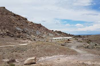 The two outbuildings housing recent dig sites at the Cleveland-Lloyd Dinosaur Quarry, near Cleveland, UT.