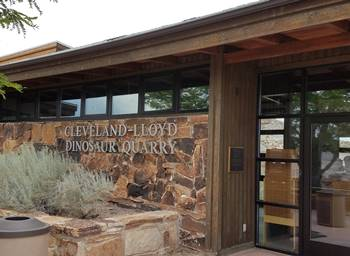 Visitor center at the Cleveland-Lloyd Dinosaur Quarry, near Cleveland, UT.