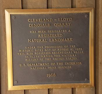 Plaque at the Visitor Center, Cleveland-Lloyd Dinosaur Quarry, near Cleveland, UT.